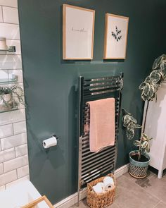 Green shades work brilliantly in a bathroom, to create a calming and cosy space. Small Bathroom Colors, Bathroom Color Schemes, Bathroom Design Small, Bathroom Interior Design, Green Bathroom Paint, Small Bathroom Inspiration, Small Downstairs Toilet, Small Toilet Room, Toilet Room Decor