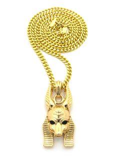 14k Gold Egyptian God Anpu Anubis Pendant Cuban Chain - Bling Jewelz