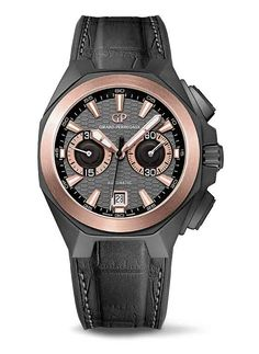 The #GirardPerregaux Chrono Hawk Hollywoodland stands out from other models in the recently revamped Hawk collection, with its black ceramic case and rose-gold bezel. The case, which is 44 mm in diameter and water-resistant to 100 meters, features alternating matte and gloss finishes that accentuate its familiar angles and curves.