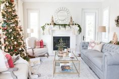 Christmas in blue beige room Decked & Styled Holiday Living Room - A Thoughtful Place Living Room, Christmas Open House, Family Room, Holiday Living Room, Family Living Rooms, Christmas House Lights, House Exterior Blue, Room, Beige Room