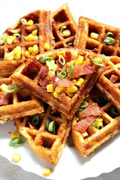 Cheddar Bacon Cornbread Waffles Recipe - savory take on waffles, filled with crispy bacon, freshly grated cheddar cheese, sweet corn and nicely seasoned with Ranch mix! So good as lunch and dinner too! Cornbread Waffles, Bacon Waffles, Cheese Waffles, Cheddar Cheese, Breakfast Buffet, Breakfast For Dinner, Breakfast Recipes, Waffle Iron Recipes, Ranch Mix