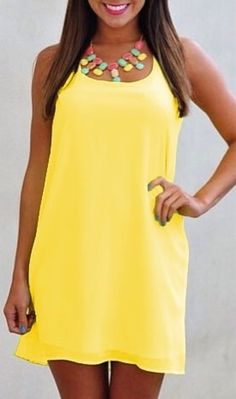 Yellow shift dress, $15 - http://www.luulla.com/product/492022/sexy-women-summer-casual-sleeveless-party-evening-cocktail-short-mini-dress-s-xl