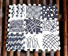 Zentangle - Recycled Puzzle Project - doodleZentangle - doodle - doodling - black and white zentangle patterns. zentangle inspired - #zentangle #doodling  high school and grammer school doodling project ideas