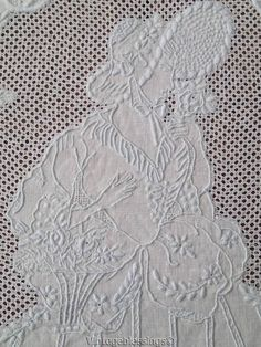 """Incredible Handwork Antique Figural LACE Tablecloth 69x67"""" Cutter?"""