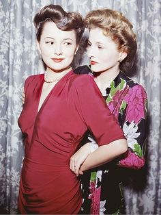Olivia De Hallivand and Joan Fontaine