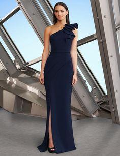 Navy Blue Evening Gown, One Shoulder Gown, Slit Dress, Formal Gowns, Mother Of The Bride, Bride Dresses, Clothes, Bar Mitzvah, Celine