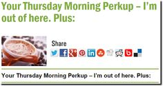 Your Thursday Morning Perkup – I'm out of here. Plus: