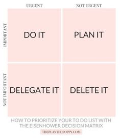 Prioritize your to-do list with the Eisenhower Decision Matrix To Do Lists Printable, Free Printable Worksheets, Free Printables, Business Planning, Business Tips, Eisenhower Matrix, Design Your Life, Time Management Tips, Project Management