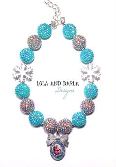 Queen Elsa Frozen Sparkle Necklace chunky necklace bubblegum necklace birthday necklace boutique necklace Disney inspired