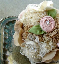Items similar to Handmade Bridal Bouquet - Fabric Flower Bouquet with Pink Rosettes - Weddings Bridal Accessories Bouquet on Etsy Burlap Flower Bouquets, Burlap Bouquet, Wedding Bouquets, Boho Wedding, Wedding Fabric, Wedding Ideas, Alternative Bouquet, Rustic Chic, Bridal Accessories