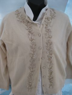 vintage 1960's embellished cardigan, cashmere, size 40, mint condition