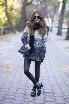 Leggings: Old, similar – NastyGal | Sweater: NastyGal | Boots: Givenchy | Scarf: H&M, similar | Bag: Reece Hudson | Sunnies: Stella McCartney | Lips: MAC via Nasty Gal