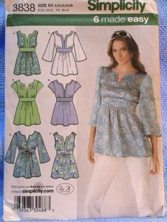 Simplicity Pattern 3838 Misses Tunic Sleeve Trim Variations Sizes 8-16 Uncut #simplicity #Tunic