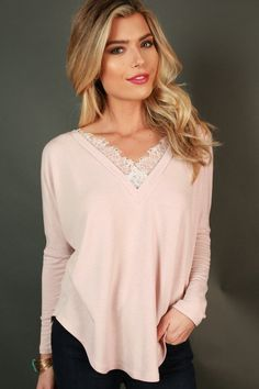 Cozy In Lace Top in Baby Pink