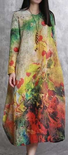 baggy yellow linen dress oversize prints gown women long sleeve kaftansMost of our dresses are made of cotton linen fabric, soft and breathy. loose dresses to make you comfortable all the time. Makes you look slimme Linen Dresses, Cotton Dresses, New Long Dress, Printed Gowns, Elegant Outfit, Mantel, Fashion Outfits, Fall Fashion, Clothes For Women