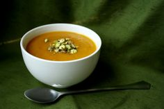 Curry Butternut Squash Soup with Coconut Milk and Pistachios