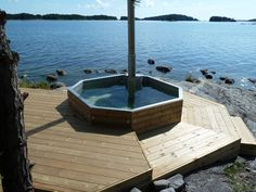 Image result for wood deck round above ground pool