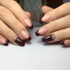 21 Stunning Burgundy Nails Designs That will Conquer Your Heart: Variations of French Tips #burgundy; #nails; #nailart; #naildesign
