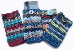 make a little cell phone case. Although I'm pinning it for the color pallet, I might want to knit a striped hate with the color pallet of the half hidden one.