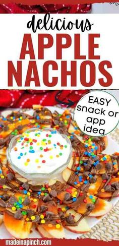 Make this super easy Apple Nachos snack for your kids. It's a fun twist on an already kid-friendly food that will please even the pickiest of eaters! The best part about a snack is that it comes together quickly and with only a few ingredients. These apple nachos are a perfect snack because all you need to do is slice up an apple and sprinkle on your favorite toppings! The accompanying fruit dip is completely optional (but heavenly)! | #kidfriendlysnacks #easysnackrecipes #applerecipes… Easy Snacks, Easy Desserts, Dessert Recipes, Healthy Family Dinners, Kids Meals, Delicious Recipes, Yummy Food, Healthy Recipes, Yummy Appetizers