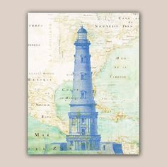 Blue Lighthouse Print 11X14 print old map Mexico golf by AlgaNet, $25.00