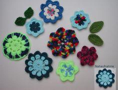 Häkelblumen und Blätter  - Set   mehrfarbig/bunt von Shop Kunterbunt auf DaWanda.com
