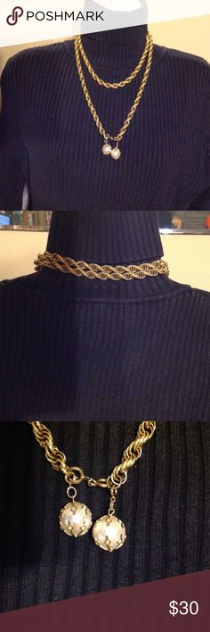 """Gold Tone imitation Pearl cable necklace. Signed Celebrity.  Gold tone Cable (FAUX) chain with imitation Pearl balls which are detachable.  The chain is 20"""" closed and when opened its 40"""". Can be worn as a belt too. Brand new, never used.  Please see pics and ask questions. Celebrity Jewelry Necklaces"""