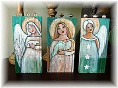 Folk Art Angels | Detail Image for art FOLK ART WHITE ANGEL w STARS ON WOOD