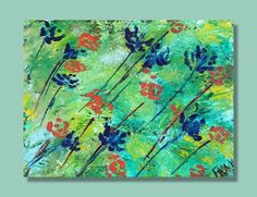Original floral abstract 16x20 acrylic garden wall decor Blue orange flowers Unique colorful bold bright floral art by RKMJCreations by RKMJCreations on Etsy
