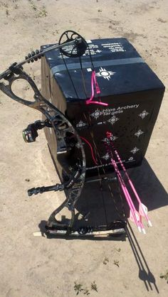 My new Hoyt Charger, my pink Ted Nugent Gold Tip Arrows and proud to be sponsored by and on the Pro-Staff team for Hips Archery Targets. ~Helen