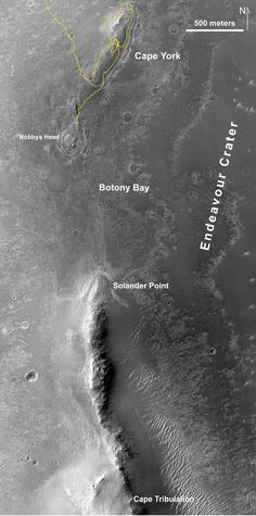 "Southbound Opportunity, June 2013 This map of a portion of the western rim of Endeavour Crater on Mars shows the path of NASA's Mars Exploration Rover Opportunity as the rover is driving from the ""Cape York"" segment of the rim to its next destination, the ""Solander Point"" segment......"
