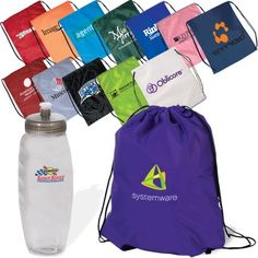 The perfect party favor combination a drawstring bag and sport bottle. Party Favors,Event Party Favors, Event Giveaway, Branded Promo