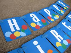 Bouncy Ball Multi Color Happy Birthday Party Banner  by BananaLala, $21.00