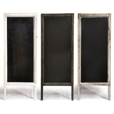 Large Chalkboards: Take cheap door mirrors and paint with chalkboard paint. Add legs and turn it into an A-frame stand-up board.