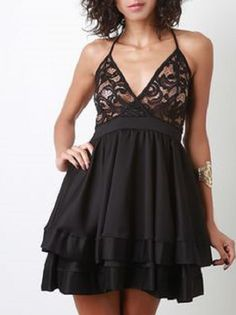 Womens Black Lace Surplice Layered Cocktail Dress Spaghetti Strap Size M #Unbranded
