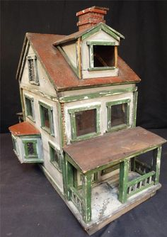 1911 Folk Art Primitive Doll House Made from East Penn Distillery Crate | Source: Auctivia Auctions