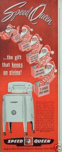 """1949 Vintage Ad Speed Queen Laundry Washer Christmas Santas """"Fastest Washday"""" 