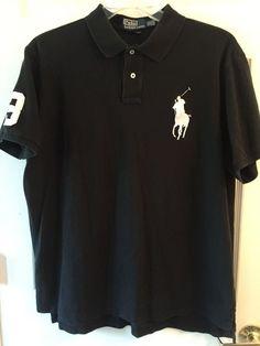 Ralph Lauren Polo Shirt BIG PONY Custom Fit XXL 2X 2XL Rugby S/S Black Short Slv #RalphLauren #PoloRugby