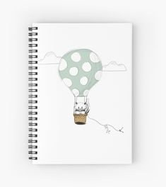 'Up and Away - White cat and mouse in a hot air balloon' Spiral Notebook by PounceBoxArt Notebook Design, Canvas Prints, Art Prints, Hot Air Balloon, Cute Kids, Notebooks, Balloons, Finding Yourself, Drawings