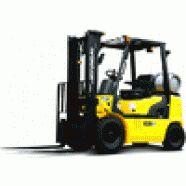 Empilhadeira marca Hyundai, equipada com motor HMC L4KB, quatro cilindros, GLP, freio mecânico/hidráulico, cabine montada sobre coxins de borracha, assento e volante ajustáveis, chassis monobloco, protetor de carga.  Capacidade de 1.500 a 3.000 kg, elevação 4.000 a 6.000 mm,torre simples/torre triplex.