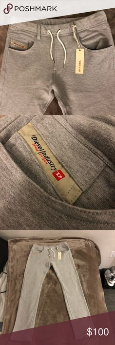 Diesel Train Belther Sweatpants NWT Grey Medium Brand new never worn Diesel sweatpants. They were a gift but they run small, so these sweatpants would most likely fit like a small. The material is amazing. This is a great deal for those who'll love diesel! Diesel Pants Sweatpants & Joggers