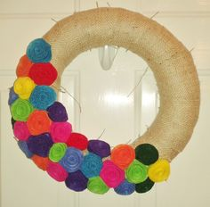 Burlap wreath with felt flowers
