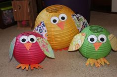 Cute owls made from paper lanterns and scrapbook paper.