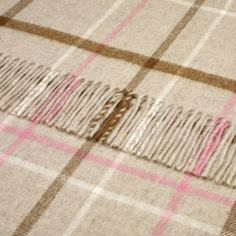 Pure Lambswool Beige and Pink Pastel Windowpane DesignThrow 140x185 cms