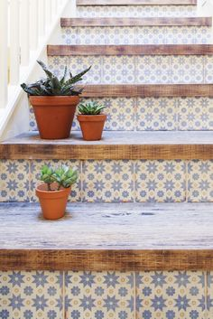 Fresh look on wood stairs with fun tile on risers.  Will help cover up any damaged risers and becomes the focal point.