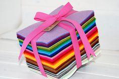 Wool Felt Gift Pack  100 Wool Felt Bundle Pack  by CraftyWoolFelt