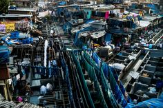 Mumbai: An aerial view over Dhobighat,  where the city's laundry is washed by an army of dhobis (washer-people). From hospital sheets to table cloths, from factory clothing to everyday items from people's homes.  Photo: Sanjit Das/Panos for SGIA