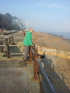 Mother in law, enjoying the sea air, St Margarets at Cliffe.Nr Dover.