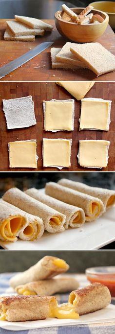grilled cheese rolls- perfect snack for dipping in tomato soup! I Love Food, Good Food, Yummy Food, Grill Cheese Roll Ups, Grilled Cheese Rolls, Grilled Cheese Sticks, Grilled Cheeses, Tapas, Snack Recipes
