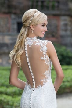 Sincerity Bridal Queen Anne and Illusion Back Lace Gown